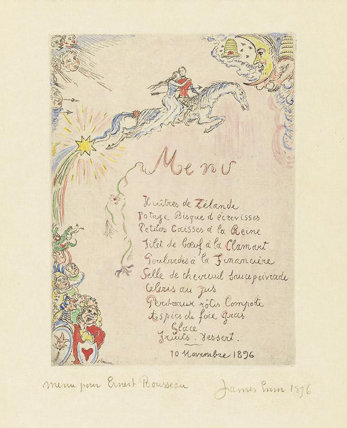 James Ensor, menu voor Ernest Rousseau